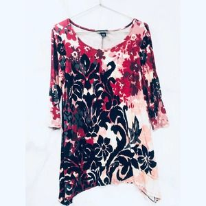 Joan Vass Stretch Knit Botanical Print Tunic Layer